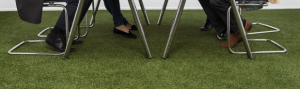 Synthetic lawn in lunch room